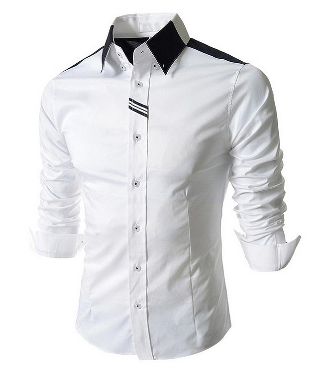 Mens slim white shirt top casual long sleeve men fashion 60291 for Best long sleeve shirts for men
