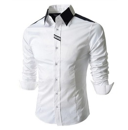 Mens Slim White Shirt Top Casual Long Sleeve Men Fashion