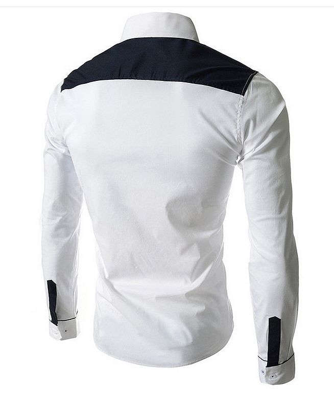 Mens slim white shirt top casual long sleeve men fashion 60291 for Mens long sleeve white shirts