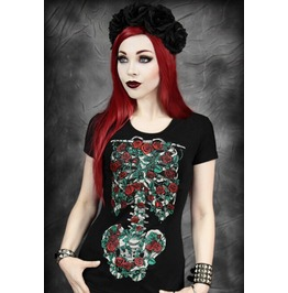 Fashion Punk Style Women Rose Print Tops
