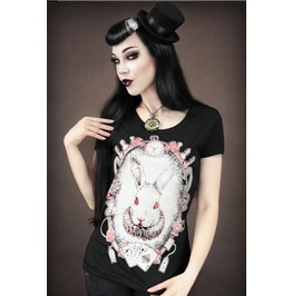 Bunny Print Fashion Punk Style Women T Shirt Tops