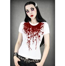 Bloody Style White Print Punk Women T Shirt