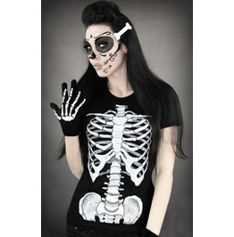Skeleton Print T Shirt Fashion Women Tops