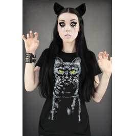 Black Cat Print Women T Shirt Fashion Women Tops