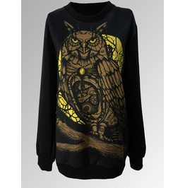 Personalized Vintage Owl Pattern Print Style Hoodie Sweater