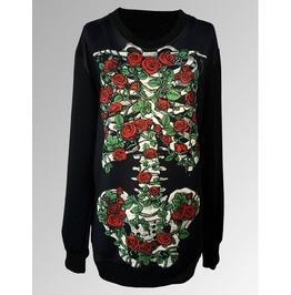 Personalized Vintage Rose Floral Skeleton Pattern Print Style Hoodie Sweater