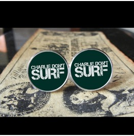 Charlie Don't Surf/Apocalypse Now Cuff Links Men, Weddings,Grooms, Groomsmen,Gifts,Dads,Graduations