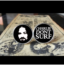 Charlie Don't Surf/Manson Cuff Links Men, Weddings,Grooms, Groomsmen,Gifts,Dads,Graduations