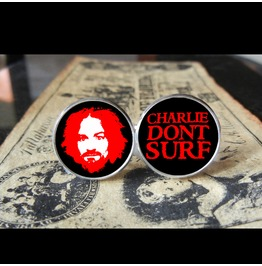 Charlie Don't Surf/Manson (Red)Cuff Links Men, Weddings,Grooms, Groomsmen,Gifts,Dads,Graduations