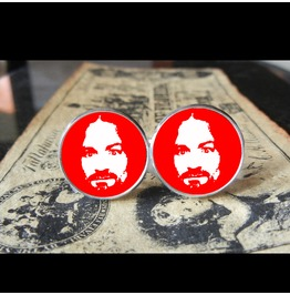Charlie Manson (Red)Cuff Links Men, Weddings,Grooms, Groomsmen,Gifts,Dads,Graduations