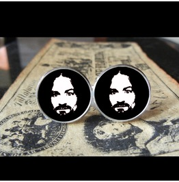 Charlie Manson (Blk&White)Cuff Links Men, Weddings,Grooms, Groomsmen,Gifts,Dads,Graduations