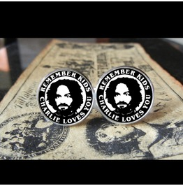 Charlie Manson Remember Kids Charlie Loves Cuff Links Men, Weddings,Grooms, Groomsmen,Gifts,Dads,Graduations