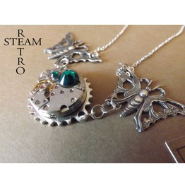 10% Code:Xmas14 Steampunk Butterfly Necklace Womens Jewelry Clockwork Butterfly Steampunk Emerald Necklace Steampunk Jewellery Steamretro