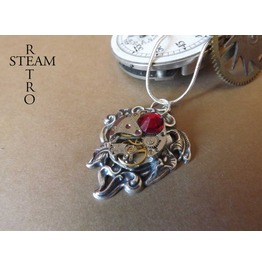 10% Code:Xmas14 Gift Boxed Steampunk Siam Lily Necklace Steampunk Necklace Lily Pendant Steampunk Jewelry Steamretro