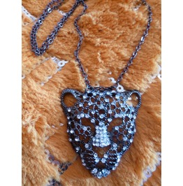 Tiger Tiger Burning Bright Black Metal Tiger Swarovski Crystal Beads Long Antiqued Black Chain