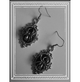 Spider Earrings, Black, Goth