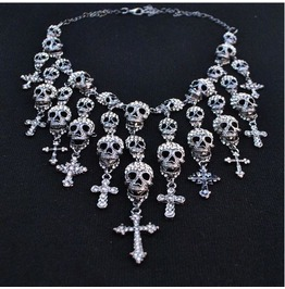 Crystal Skulls Crosses Statement Pendant Necklace
