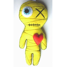 Little Mummy (Yellow) Gothic Felt Voodoo Doll Toy Keychain Doll