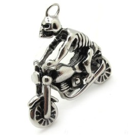Awesome Stainless Steel Skeleton Motorbike Design Pendant