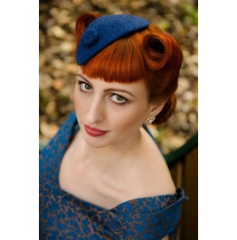 Tweed royal blue Fascinator