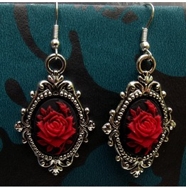 Gothic Victorian Steampunk Black Rose Cameo Filigree Drop Earrings