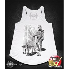 Fc0359 Ladies Girls Womans Vest Walking Star Wars White Cotton Summer Tank Top Fashion