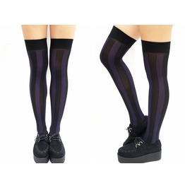 Vertical Striped Pastel Goth Thigh High Stockings Purple&Black