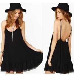 Sexy Backless Low Neck Ruffle Hem Black Short Dress