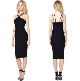 Sexy Double Straps Neck Black Short Dress