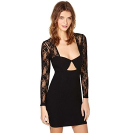 Sexy Deep Neckline Long Sleeves Lace Slim Fit Black Dress