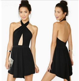 Sexy Backless Cross Neck Black Dress