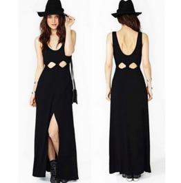 Cut Waist Low Neck Sleeveless Long Black Dress