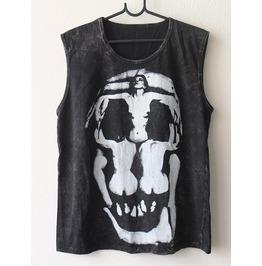 Salvador Dali Human Skull Goth Punk Rock Stone Wash Vest Tank Top M
