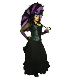 Hilary's Vanity Purple And Black Striped Goth Umbrella With A Bat,Lace,Bows