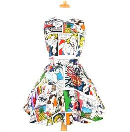 Pinup Comic Skater Dress, White