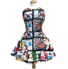 Pinup Comic Skater Dress Black