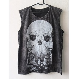 Moon Astronaut Illusion Skull Goth Punk Rock Stone Wash Vest Tank Top M