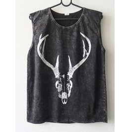 Deer Antler Skull Horns Animal Punk Rock Goth Stone Wash Vest Tank Top M