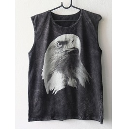 American Eagle Bird Animal Punk Rock Goth Stone Wash Vest Tank Top M