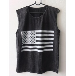 Usa American Flag Punk Rock Goth Stone Wash Vest Tank Top M