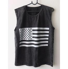 Usa American Flag Punk Rock Goth Stone Wash Vest Tank Top M