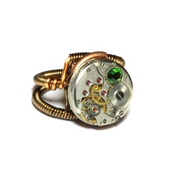 Steampunk Ring Antique Watch Movement Fern Green Crystal