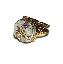 Steampunk Ring Antique Watch Movement Purple Velvet Crystal