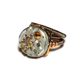 Steampunk Ring Antique Watch Movement Copper Crystal