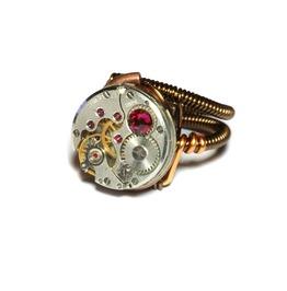 Steampunk Ring Antique Watch Movement Ruby Red Crystal