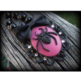 Pink Black Spider Cameo Necklace Swarovski Crystals