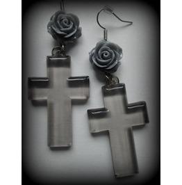 Grey Flower Cross Earrings