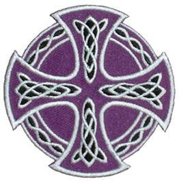 "Celtic Cross (Purple) Embroidered Patch 7 Cm X 7 Cm (2 3/4"")"