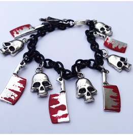 Hacked Up Bloody Hatchets And Skulls Charm Bracelet