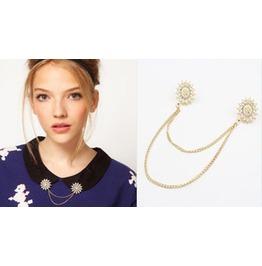 Crystals W/ Flex Pearls Collar Tips Gold W/Chain